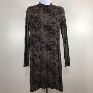 Clayton marbled long sleeve black brown dress M
